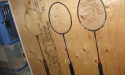 3 excellent used BADMINGTON racquets: from left to right 1.steel shaft Carlton $12 no tax. has excellent webbing 2. centre Black Knight Demon carbon graphite shaft excellent webbing $19. 3. on right side BELIEVED TO BE TOP OF THE LINE Black Knight Viper