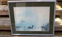For sale are 3 framed prints as shown in the pictures. 1. Loons - picture is 30 inches wide by 23 in high - $15 2. Moose - picture is 24 inches wide by 27 inches high - $15 3. Basket with Apples - picture is 23 1/2 inches wide by 19 1/2 inches high - $10