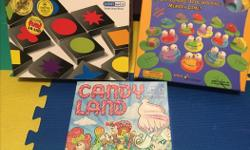 3 award winning games for sale (Qwirkle, Froggy Boogie, and Candy Land). All pieces included. Everything like new.