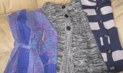 3 Girls Long-Sweaters Size 10/12 Include: 1) Blue/Grey Sweater Brand - CHEROKEE 2) Black/White Fleck Sweater Brand - NEVADA 3) Blue/Purple Fleck Sweater Brand - GEORGE ONLY $5 each AWESOME PRICE Get ready for school for ONLY a fraction of the price!! Can