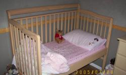 3 in 1 crib goes from crib to day bed as shown in pic to twin bed. Crib matress included, and change table all in excellent condition paid over 1000.00. Must sell need the room 250 O.B.O.