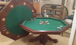 3 IN 1 POKER & BUMPER POOL TABLE CAN ALSO BE USED AS A REGULAR DINING TABLE WHEN NOT BEING USED. >>COMES WITH POOL CUES AND BALLS<< EXCELLENT CONDITION!!! $500.00 - O.B.O