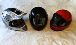 3 helmets, used only a few times - $60 each Only 2 left - Black one is SOLD 1 - med HJC LS-Airtech2 full-face (red) 1 - AFX med - dual sport helmet, with goggles (silver/black) All the helmets are in very good condition with some minor scuffs/scratches on