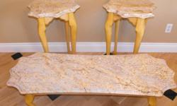 1 coffee table and 2 matching end tables, New Venetian Gold granite tops with ogee profile edges, solid maple Queen Anne legs and maple framework hand routered with ogee profile as well, extremely strong but not heavy, felt bottoms, custom new, never