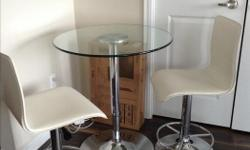 adjustable hydraulic glass top top with polished chrome base 2 white leather adjustable hydraulic stools