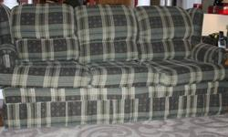 3 Piece Couch plus Ottoman is in great shape.  About 8 years old and taken very good care of.  Also comes with green pillows.