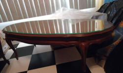 Beautiful 3 Piece Solid wood coffee table and two end tables with queen end legs and drawers