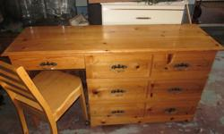 7 Drawer Desk / Dresser with chair Highboy 6 Drawer 2 door Double Headboard Great shape Solid wood $210