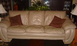 Mushroom (light brown/tan) colour 3 seater leather sofa for sale. Smoke free, pet free home. In good condition.