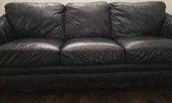 3 Seat black leather couch, like new, no rips, tears or stains. 77 inches L x 38 inches W x 35 inches H Can be purchased with matching love seat and ottoman