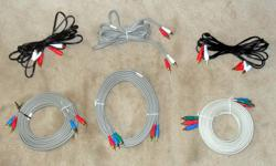* all cables are 10 ft. long, for connecting audio and video outputs from a cable box, DVD player, home theater ... etc., to TV audio and video inputs * each stereo audio pair has white/red (left/right) RCA plugs at each end; one is a heavy gauge grey