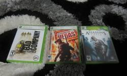 hey i have battlefield bad company 1, assassins creed 1 and rainbow six vegas(SOLD) for xbox 360. thay all work perfectly and all have cases. tell me your best price or trades. (ill think about trades). call me at 705-735-3028.thx