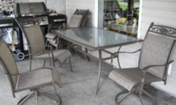 1 large glasstop table, 4 chairs, 2 swivel chairs, large umbrella. Almost new and in real good condition.Must be picked up by the end of September