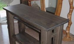 Just completed building and finishing this piece,,I do have 30 years exp. in the trade..--..The Table top is 18x48inches The Height is 33.5inches..--The Legs are square 4.25x4.25.x32inches. There are 3 shelves -Top and bottom shelves are 5inches wide...