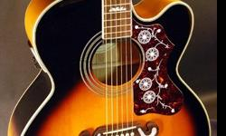 Gibson Epiphone EJ-200 Super Jumbo Acoustic/Electric, including the hard case, cable, and fresh set of strings as well!!A little bit about the guitar:· 5 years old (flawless condition, never scratched, dropped, etc)· Fresh set of Elixir strings· Huge