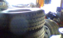 I HAVE 4  16 INCH BRIDGESTONETHEY ARE 245 R16 10 PLY OF A 3/4 TON CHEVY TRUCK 4 BY 4 ABOUT 50 PERCENT WITH 40.000KM   MS LOAD RANGE  E NO RIMS ASKING 400.OO DOLLARS FOR INFORMATION CONTACT ME AT 705 474 0824