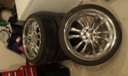 """4x 22"""" American Eagles. 6 Bolt chrome rims, with beautiful HANDCOCK  Low profile tires (only used for 3,500 km) ASKING $3000 OBO   Please E-mail Tyler"""