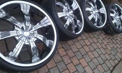 """*********PACKAGE DEAL******** I will install these on your vehicle at no charge YOU ARE PURCHASING A COMPLETE SET OF FOUR (4) DIP D88 GUNNER 22"""" X 9.5"""" CHROME WHEELS (RIMS) AND CENTER CAPS WITH TPMS SENSORS IN EXCELLENT CONDITION. THIS SET COMES OFF MY"""