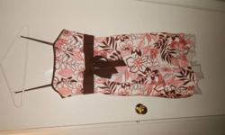 dress 1: brown and salmon color, knee length, large size, skinny straps, wore for a summer wedding dress 2: black with sequel jewel flowers, floor length, large size, strapless, wore for grade 8 graduation dress3: black ruffle, knee length, large size,