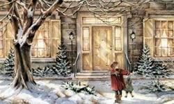 4 winter scenes by Trisha Romance. Pictures themselves are 5 1/2 inches by 7 inches. Gold frames, cream matte. Always been in smoke free home. Would go very nicely with the large Christmas at the Cottage print as a grouping. Bought and framed by Koyman