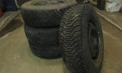"""These winter tires came off a 2000 Chev Venture van, but the rims would fit a lot of GM vehicles. We no longer have the van, so we don't need the tires/rims.  Approximately 80% of tread left (about 9/32"""").  Selling as a set of four tires on rims.  $580"""