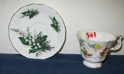 Fine bone china Cup Royal Albert Provincial  flowers  of Canada  no saucer $2.50 Saucer Queen Anne Lilly of the  Valley no cup $2.50 Queen Elizabeth Cup and saucer ...Nova Scotia Tartan $5.00 Westville Cup and saucer .wild roses $5.00 Royal Vale cup and