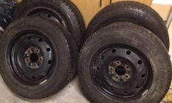 2 sets of michelin x-ice snow tires on steel rims just like new!. 2 are 205/65R15 and the other two are 195/65R15 all a 5 bolt pattern. all 4 tires were used on my 2007 honda civic last year.Sold car and need to sell tires...asking $400 for all 4 or $225