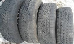 4 - Nordic Icetrac Winters P205/60R16  on 5 bolt rims Approx 50% left Still good tires $275.00  for the set of 4 Check our other ads for more used tires