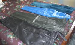 """All the pants are lined and in new condition. Black 28 1/2"""" Inseam, & 30"""" Waist Green 29"""" Inseam & 30"""" Waist Blue 27"""" Inseam, & 29 1/2"""" Waist Teal 28"""" Inseam, & 28 1/2"""" Waist Some are tagged size 12, others could be size 10. Call 705-949-5352"""