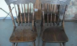 4 PRESS BACK CHAIRS,,IN NEED OF REFISHING,OR USE AS IS,,,,,,,100.00 FIRM