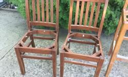 3 solid maple chairs (1 with arm rests), 1 bar stool chair. They are great chairs to restore. $50 for all 4. Or else $15 each.