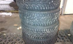 -205/55R16 winter claw -only one winter season -studded tires good for gripping on ice -90% tread left -rotational tires good for braking and stopping -most accidents happen when the car goes lateral these tires are good for that -I never got stuck with
