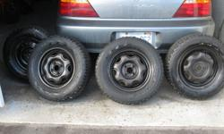 Hi There I have 4 winterforce tires for sale. They were my sons who moved out to Alberta this past summer. They were on his Acura Integra which he sold before going west. They are 14inch Honda rims with a 4x100 bolt pattern. The size is P195/70/R14.Im