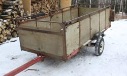 "4X10 trailer with sides. tilts, excellent for 1 snowmobile or quad, new lights and wiring, new bearings, good axle and springs. good tires 12"", spare 800$. obo thanks 627-2510"