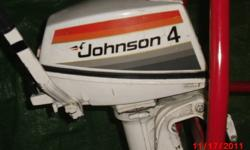 Johnson Seahorse  4hp 2-stroke boat engine,comes with gas tank, weighs approx 34lbs50:1 mixture hardly used,$500.00