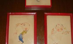 If the item is listed it is still for sale.It is removed immediately when sold. Offered here is 3 antique sketches with ink, pencil and water color. They may have been some advertisement cartoon as they are of a young man with a ice cream Sundae float.