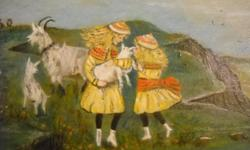If the item is listed it is still for sale. It is removed immediately when sold. This is dated between 1860-1915. It is an oil painting of girls playing with and holding a goat. It is painted on black hardboard. It is 12 by 7 inches. Please check out ALL
