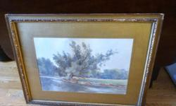 If the item is listed it is still for sale. It is removed immediately when sold. This antique water color is very well done and signed M. H. HOLMESTED. The signature is discretely written in the body of the painting. The frame is quite ornate however it