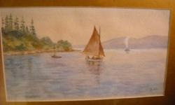 If the item is listed it is still for sale. It is removed immediately when sold. This lovely antique water color is of a sail boat and is on the Gatineau Riverhead in Chaseo Quebec. It is signed but not legible. It is 15 inches by 12 inches. Please check