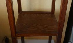If the item is listed it is still for sale. It is removed immediately when sold. This arts and crafts antique would plant stand used to be an umbrella stand. It has two shelves that are removable that were a later addition. It stands 26 1/2 inches high by