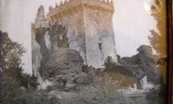 If the item is listed it is still for sale. It is removed immediately when sold. This antique photo picture is of the Blarney Castle in Ireland. It has the original glass and you can see the air bubbles in it. There is a small piece in the lower right