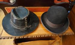 If the item is listed it is still for sale. It is removed immediately when sold. Offered here is a choice of two hats, One is a vintage black Royal Stetson and the other is a black hand made leather hat. The leather hat measurement of the inside
