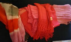 If the item is listed it is still for sale. It is removed immediately when sold. 1/ 25.00 Mid Century 100 percent wool dark pink hand woven with knitted fringe. Made in Mexico. It is 80 inches by 19 1/2 inches wide. 2/ 15.00 Pink with gold thread, it is