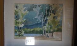 If the item is listed it is still for sale. It is removed immediately when sold. This lovely water color is done by well known artist DONNAH CAMERON. It is 24 inches long by 22 1/2 inches high.The frame is wood and more of a light brown grey taupe color