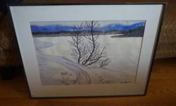 If the item is listed it is still for sale. It is removed immediately when sold. This water color was done by Mary Pepin in 1978 and is titled Solitaire. She is a known artist and studied under Henri Masson. It is 27 1/2 inches long by 21 1/4 inches