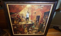 If the item is listed it is still for sale. It is removed immediately when sold. This is a nice big framed musical print of a band playing in the bar. It is 36 by 36 inches wide. Please check out ALL my listings by simply clicking on: View sellers list,