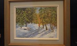 If the item is listed it is still for sale. It is removed immediately when sold. This oil painting is signed Marge Phillips Lachine Que.and titled the Laurentians Quebec. It is 25 by 21 inches high. Please check out ALL my listings by simply clicking on: