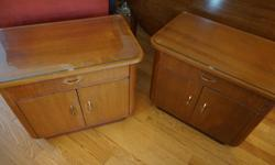 If the item is listed it is still for sale. It is removed immediately when sold. Offered here is a pair of mid century teak end tables or night tables. They are very low and are only 17 1/4 inches high by 21 3/4 inches long and 14 inches deep.. They have