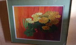 If the item is listed it is still for sale. It is removed immediately when sold. This lovely piece of art is a matted and framed still life floral painting. It is signed with initials and dated. The initials are E.I and dated 66. This painting is quite
