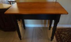 If the item is listed it is still for sale. It is removed immediately when sold. This vintage farm table has been refinished with a lighter finish on top and darker bottom. It is 37 inches by 22 inches wide and 30 inches high. Please check out ALL my